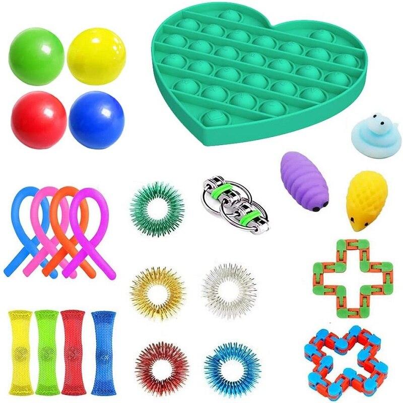 20/24 Pack Fidget ensemble de jouets sensoriels soulagement du Stress jouets autisme soulagement de l'anxiété Stress Pop bulle Fidget jouet sensoriel pour enfants adultes