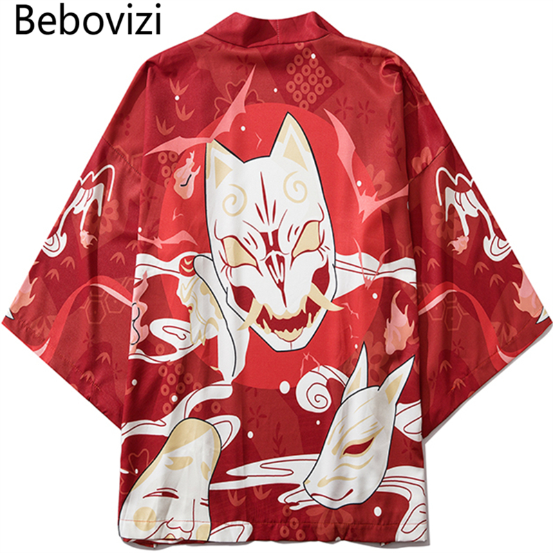 Bebovizi Summer Japan Streetwear Man Beach Kimono Cardigan Cosplay Shirt Blouse For Men Unisex Japanese Yukata Kimonos