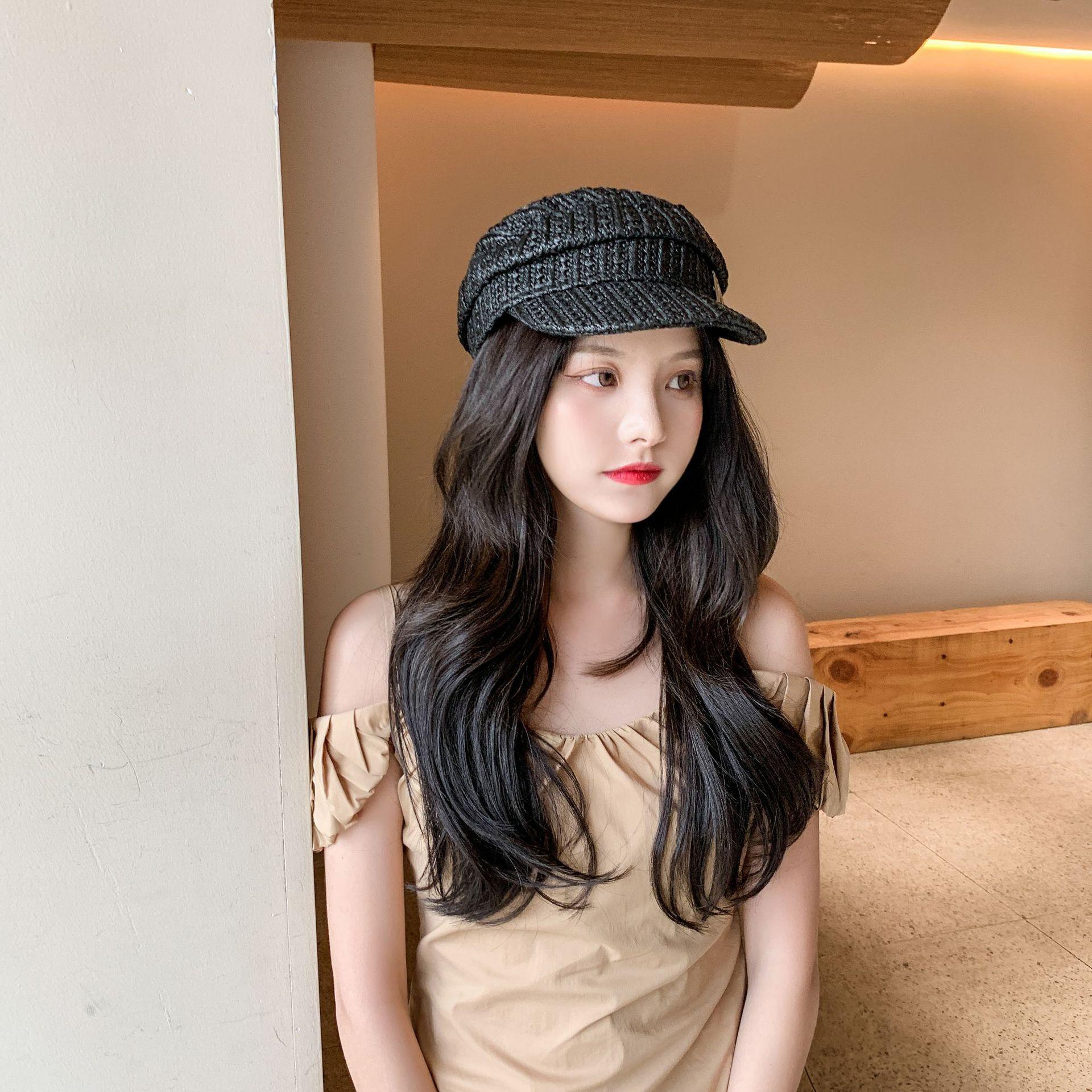 2021 New Retro Peaked Hat Fashion Straw Hat Female British Korean Version Japanese Beret Simple and Fashionable