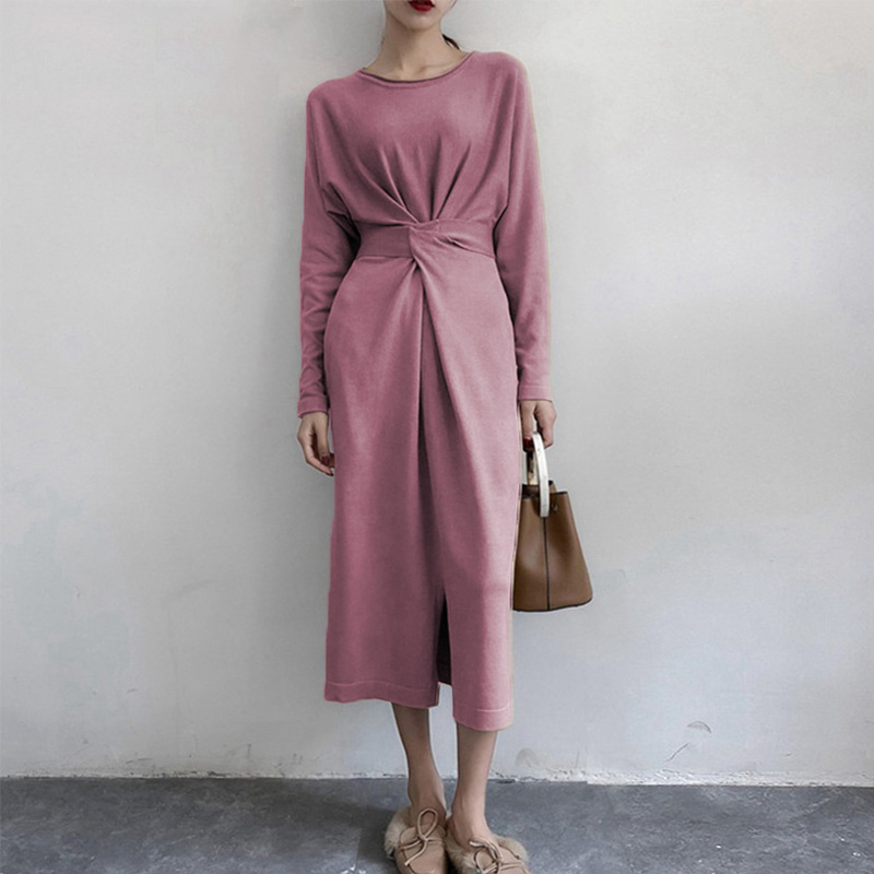 Women's Long Sleeve Split Knitted A-line Midi Dress High Waist Bowtie Bandage Lace Up Female Dresses 2019 Spring O-Neck Clothes 4