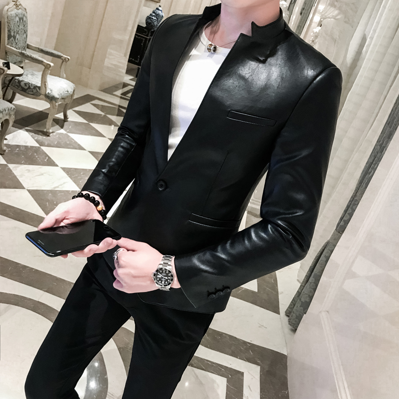 Solid Black Slim Fit Blazer Hombre PU Leather Jacket Men One Button Business Casual Prom Blazers For Men Korean Suit Coat 1