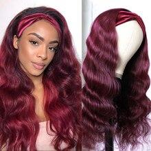 T1B 99J парик с головной повязкой бразильские волнистые волосы парик для Для женщин 100% человеческих волос предварительно Цветной бесклеевой п...