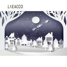 Laeacco Merry Christmas Baby Winter Snow City Poster Photographic Backgrounds Customized Photography Backdrops For Photo Studio