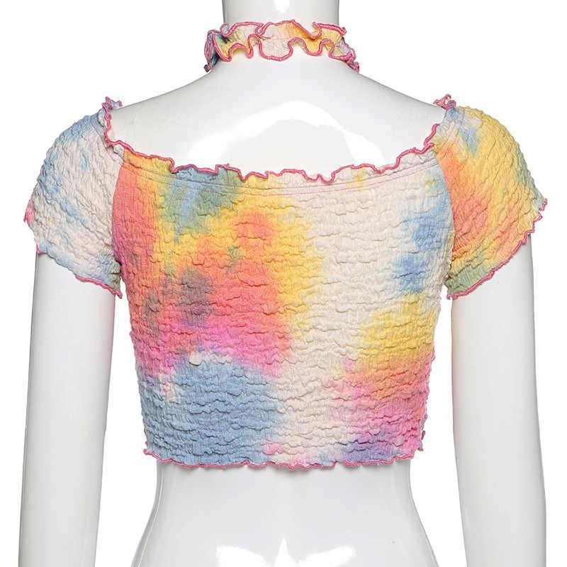 BOOFEENAA Colorato Tie Dye Graphic T Camicette Estate 2020 Carino Sexy Smocked Low Cut Con Scollo A V Manica Corta Crop Magliette E Camicette donne C94-BF10