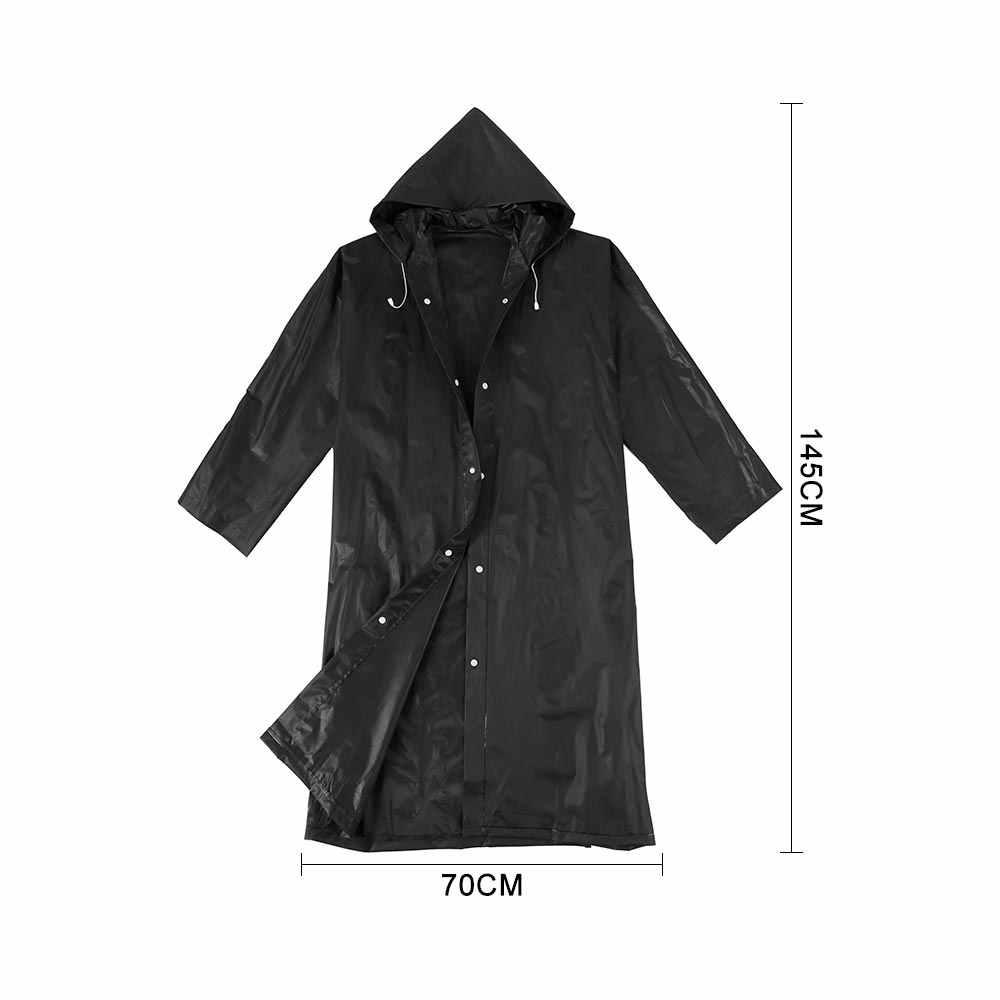 Fashion Women men EVA Transparent Raincoat Portable Outdoor Travel Rainwear Waterproof Camping Hooded Plastic Rain Cover