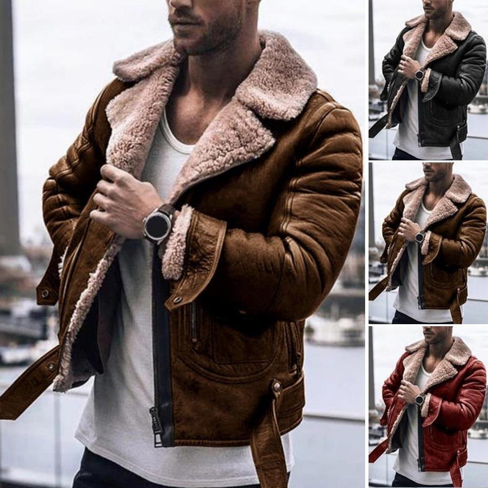 New Fashion Jacket Men Faux Fur Lapel Collar Long Sleeve Vintage Leather Jacket Warm Outwear Motorcycle Leather Jacket Coat Men