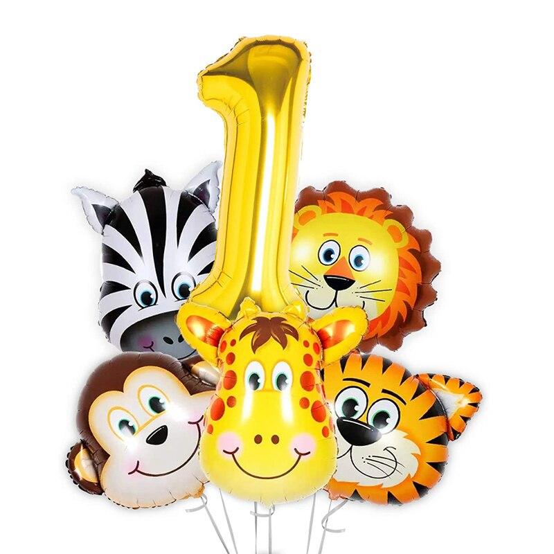 6 шт сафари с изображением животных из джунглей шар 40 дюймов Фольга номер 1 мальчика наряд для первого дня рождения украшения для надпись «Wild...