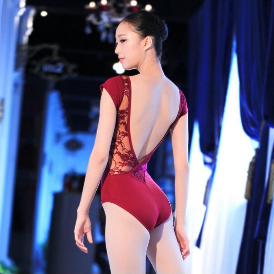 Lace Cotton Ballet Leotard Backless Women Ballet Dance Wear Girl Adult Dance Clothes Black Gymnastics Leotard Bodysuit