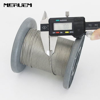 304 Stainless Steel 7x7 Wire Rope 50M/100M Softer Fishing Lifting Cable 0.5/0.6/0.8/1.0mm Diameter Included Aluminium Sleeves