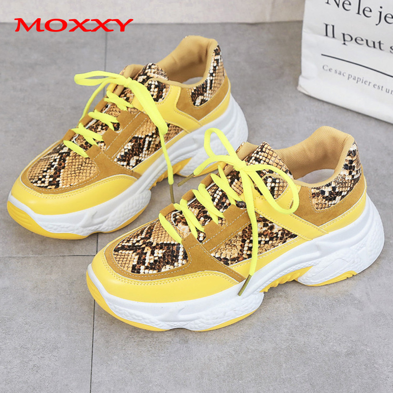 US $31.42 |Plus Size 42 Fashion Snake Chunky Sneakers Women Platform Dad Sneakers Black Yellow Pink Silver Casual Shoes Woman basket femme in Women's