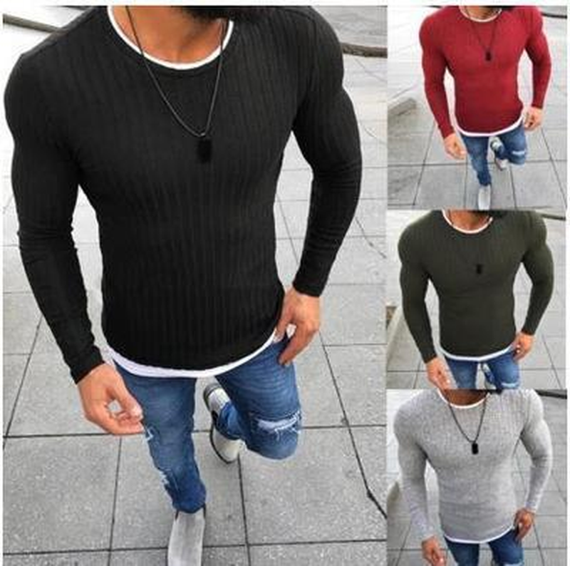 Zogaa 2019 Men Autumn Sexy Skinny Sweater Solid Knitted Pullover Thin Sweaters O-Neck Slim Fit Sweater Pullovers Plus Size S-5XL