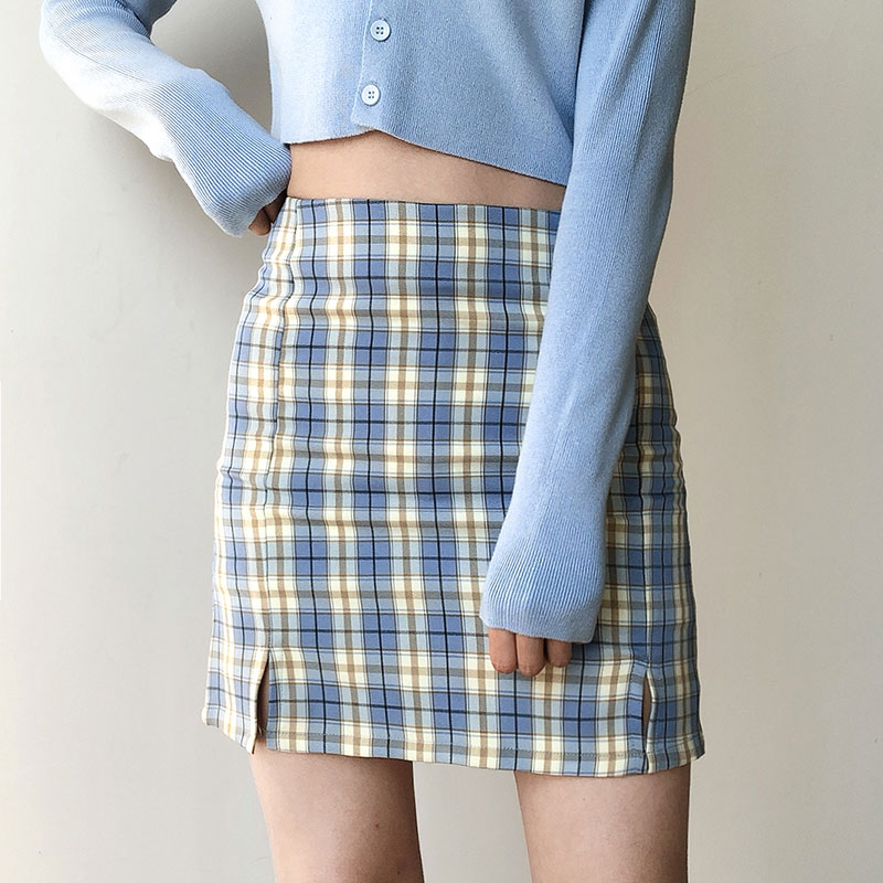 Women Back Zipper Opening Plaid Print Skirt With Two Small Front Slits With Lined Plaid Mini Skirts Purple