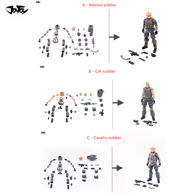 JOYTOY 1/18 figura de acción sin montar, no coloreado modelo kit soldado figuras DIY colección juguetes envío gratis