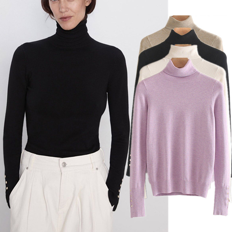 2019 Fashion Winter Sweaters Women England Elegant Multicolor Turtleneck Gold Buttons Pull Femme Knitted Sweaters Women Pullover