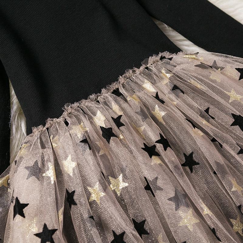 Full Sleeve Dress for Girls Clothing Cotton Pentagram Pattern Mesh Tutu Dress Casual Wear 2-7Years Kids Children Autumn Dresses 5