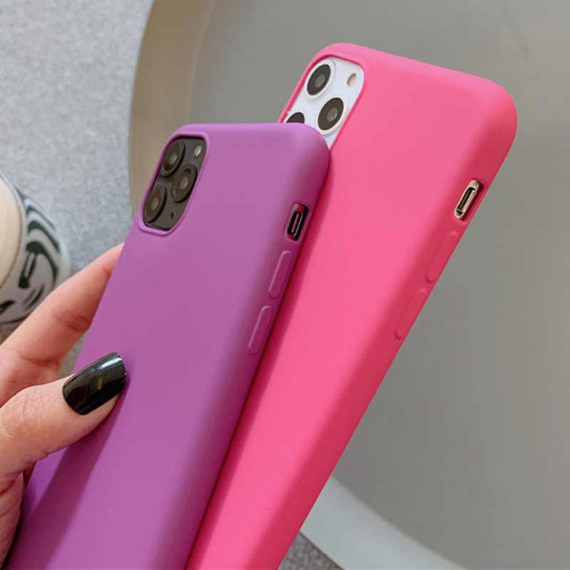 Ipwsoo Opaca Cassa Del Telefono Del Silicone per Il Iphone 11 7 8 Pro Max Xr Xs X di Colore Puro Knockproof per Il Iphone 7 8 6 6 S Plus Molle Della Copertura di Tpu