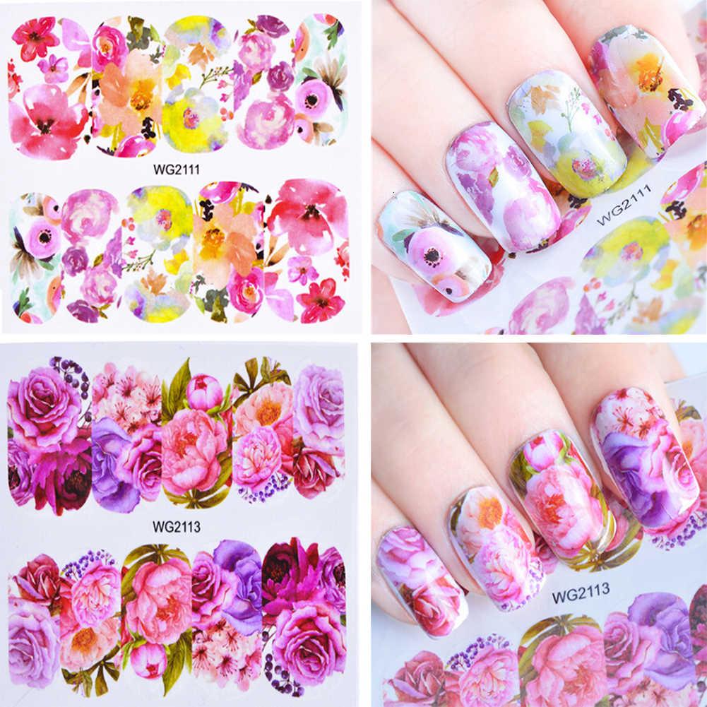 Fleur feuilles autocollant pour ongles décalcomanies fleur coloré curseur Rose transfert d'eau ongles autocollants enveloppes complètes décoration d'art des ongles