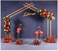 Yeni düğün sahne demir kemer pentagon raf açık düğün sahne dekorasyon kapı arka plan sahne çiçek çerçeve standları