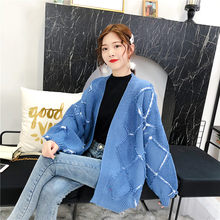 Tassels Autumn Knitting Cardigan Lantern Sleeve Sweater Woman Diamond Lattice Jacket Easy A Fairy Real School Wind Loose Coat(China)