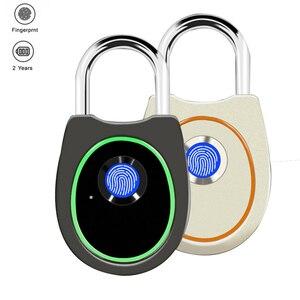 Image 5 - Taşınabilir akıllı parmak izi kilidi elektrikli biyometrik kapı kilidi USB şarj edilebilir IP65 su geçirmez ev kapı çanta valiz kilidi