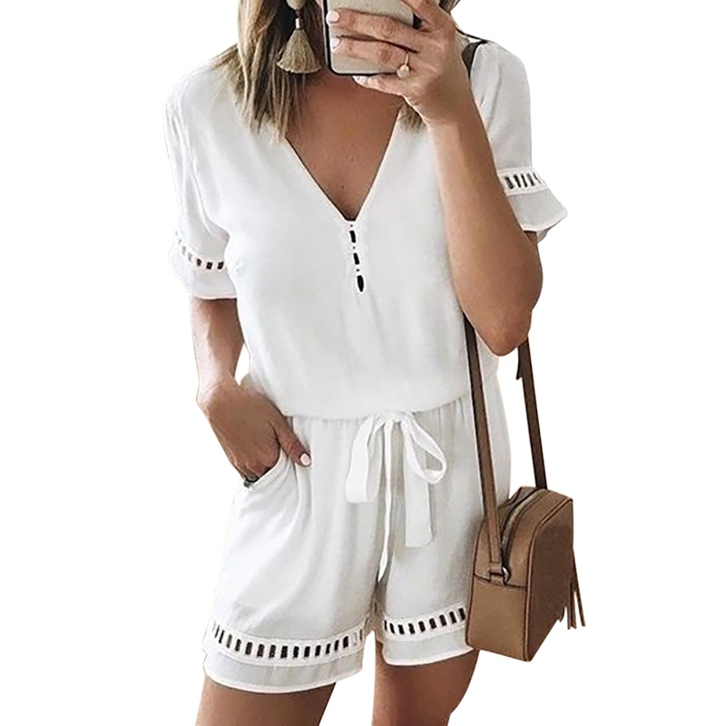 Women Jumpsuits V Neck Elastic Waist Hollow Out Short Sleeve Solid Color Button Bow TieJumpsuit