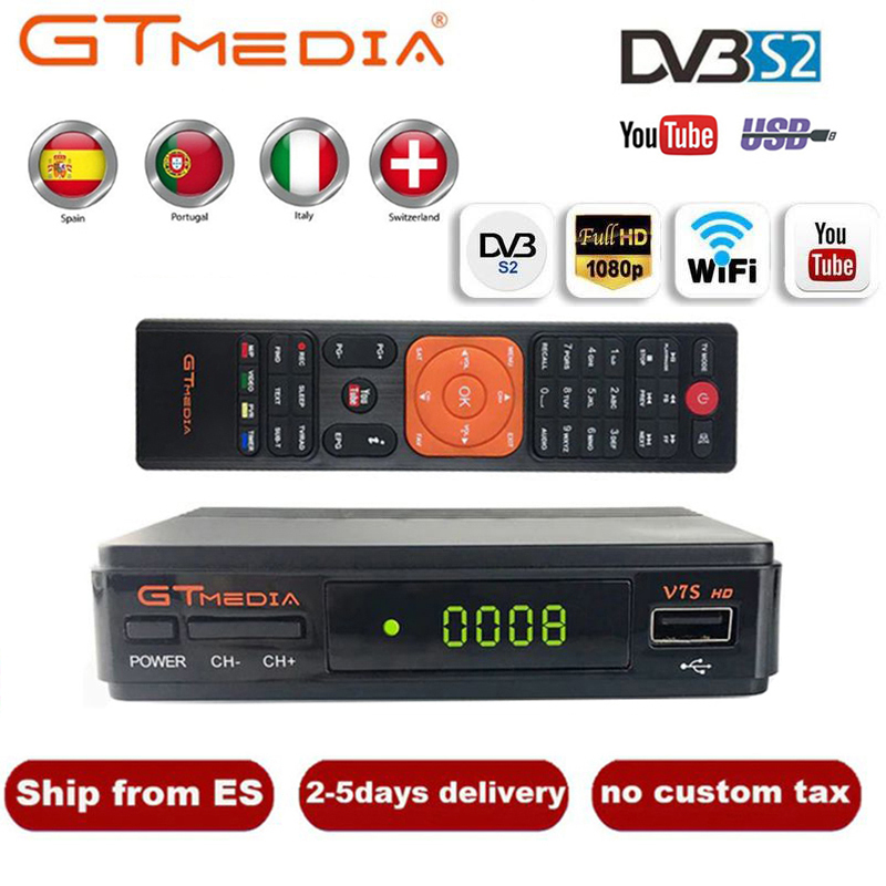 Hot DVB-S2 GTMedia V7S HD Satellite Receiver FTA 1080p Super Decoder For Spain TV Box Receptor Youtube GT Media Freesat V7