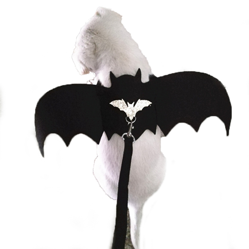 Halloween Devil Wings Pet Cat Costumes Clothes Puppy Small Dog Harness Leash Set Cat Bat Wings Vampire Fancy Rabbit Supplies