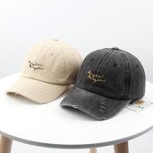 New hat female winter Korea Harajuku retro old baseball cap wild letter embroidery wash cap male korea old