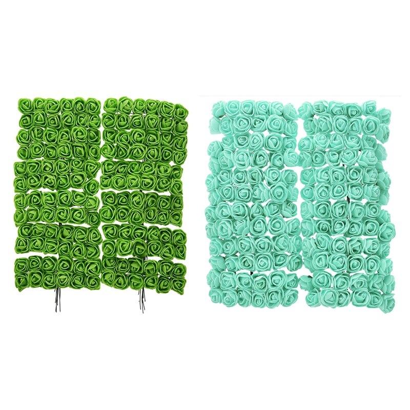 288Pcs 2Cm Pe Rose Foam Mini Flower Bouquet Solid Color/Wedding Decoration - 144Pcs Green & 144Pcs Light Green