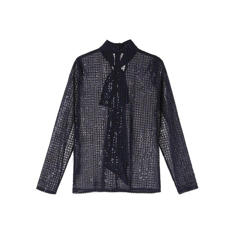 2019 automne blouse transparente femmes arcs voir à travers les manches longues bleu paillettes Blouse piste chemises élégantes - 5