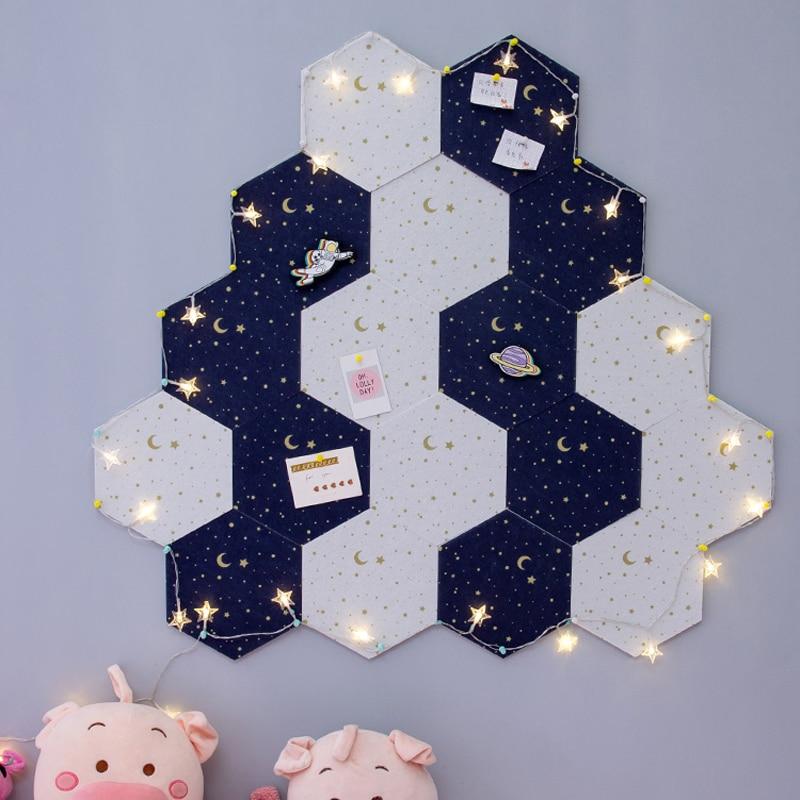7Pcs 3D Hexagon Moon Star Felt Board Letter Message Board Photo Display DIY Art Wall Decoration Office Planner Schedule Board 2