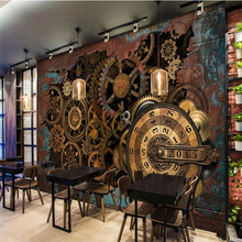 Mural Wallpaper Industrial-Decor Background Metal Custom KTV European Retro American