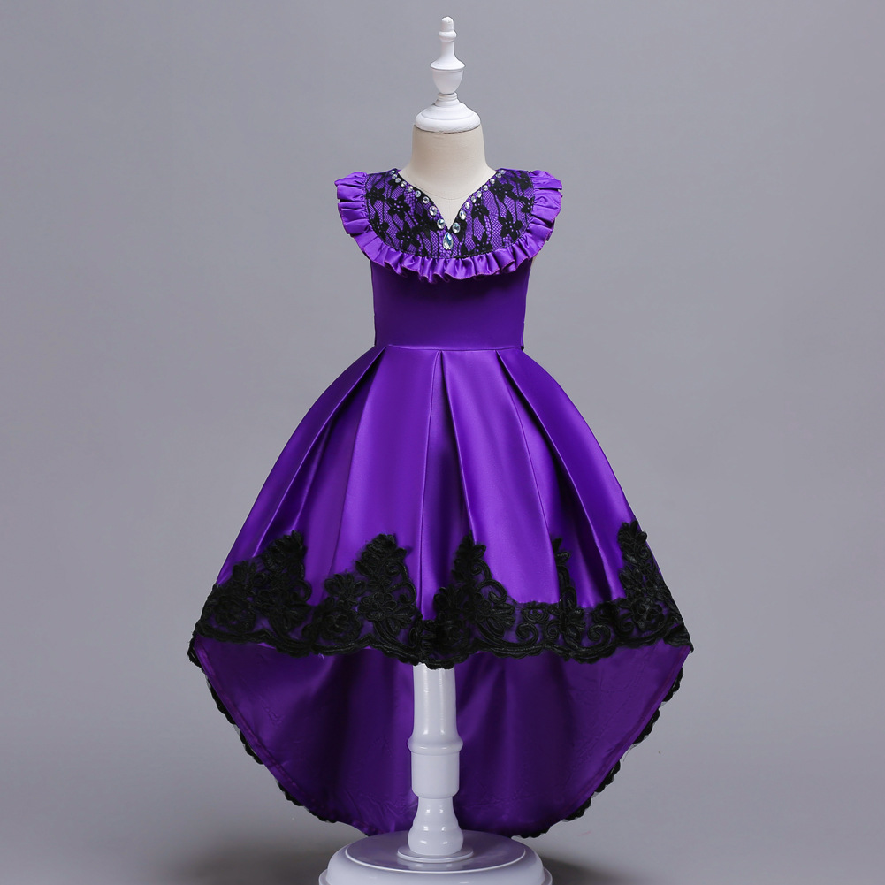 Kids Dress Europe And America GIRL'S Gown CHILDREN'S Dress Wedding Dress Flounced Tailing