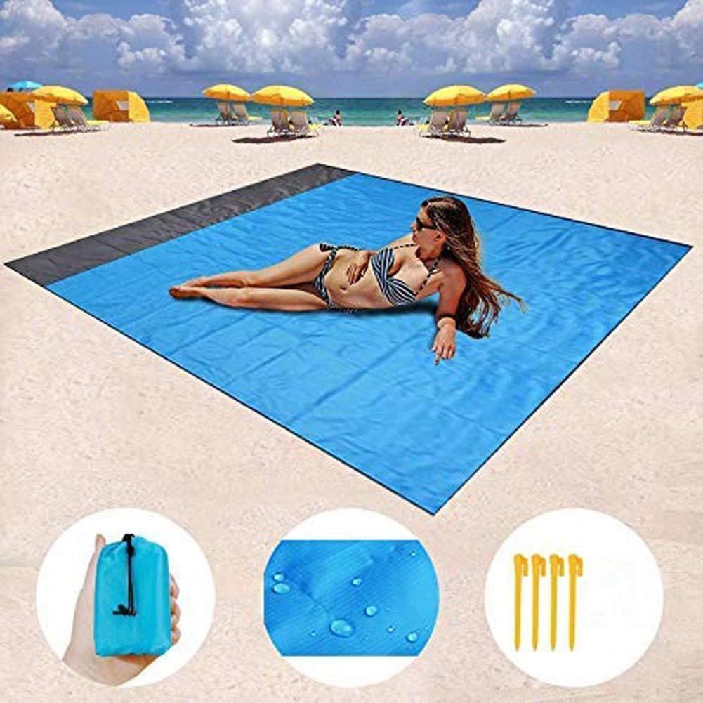 tapis de plage d exterieur couverture anti sable portable et pliable pour pique nique camping 200x140cm