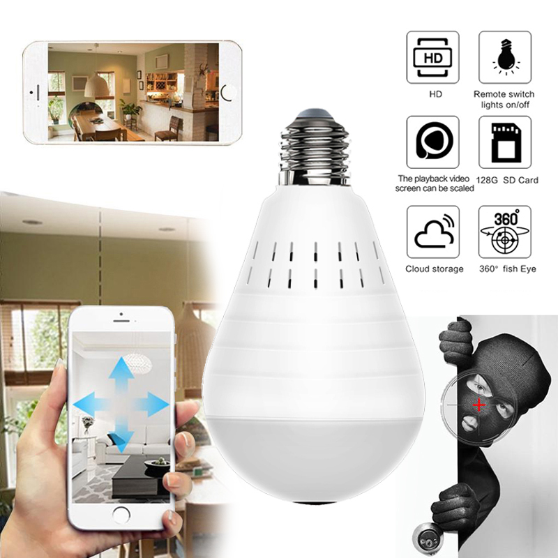 960P Wifi Panoramic Camera Bulb Fisheye Wireless Home Security Video Surveillance Night Version Two Way Audio For Home Security
