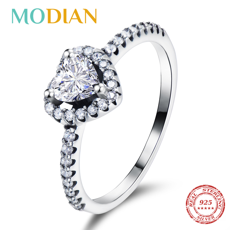 Modian Exquisite 925 Sterling Silver Vintage Hearts AAA Clear CZ Finger Rings For Women Luxury Wedding Statement Jewelry Bijoux