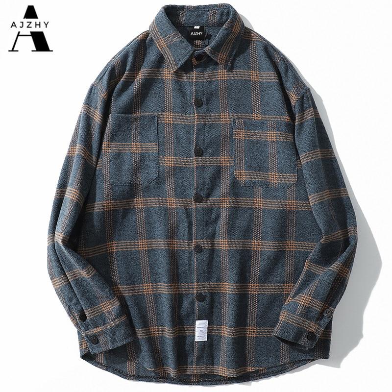 Flannel Striped Shirt Men Women Long Sleeve Vintage Shirts Men Plaid Streetwear Fashions Casual Spring Autumn Harajuku Shirts