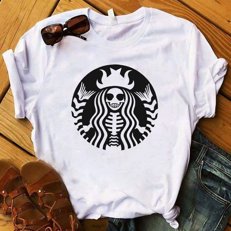 Women T-shirt Basic Witch Coffee Halloween Graphic Printed Funny Short Sleeve Tee Shirt Girls Ladies Halloween Gift Clothes