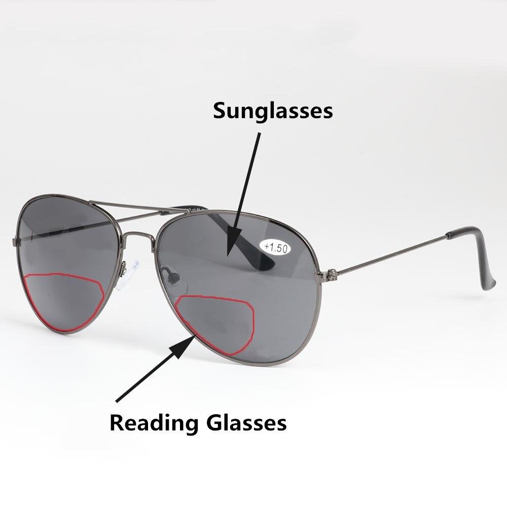 Retro piloto bifocal óculos de leitura presbiopia óculos de sol homem mulher ampliar bifocal leitor óculos outdoorfishing