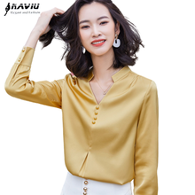 Chiffon Blouses Work-Tops Yellow Shirt Ladies Satin Long-Sleeve Office Formal Autumn
