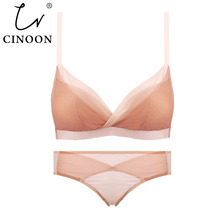 Hollow Sexy Bra Ultrathin Underwear Set Plus Size AB Cup Wom