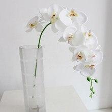 1 букет из искусственных цветов (1 букет 9 голов) искусственная Орхидея, Бабочка, Шелковый цветок для свадебной вечеринки, искусственный буке...