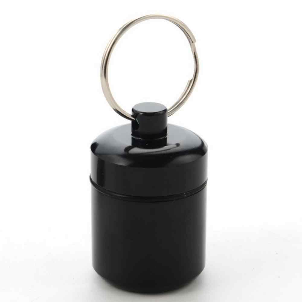 Nieuwe Draagbare Waterdichte Aluminium Pil Tank Outdoor Sleutelhanger Tablet Capsule Opbergdoos Fles Case Houder