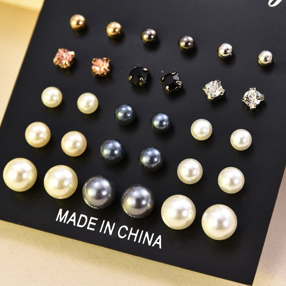 15 Pair/Set Three Color Imitation Pearls Stud Earrings For Women Original DIY Gift Jewelry Gift Crystal Stud Earrings Pendientes