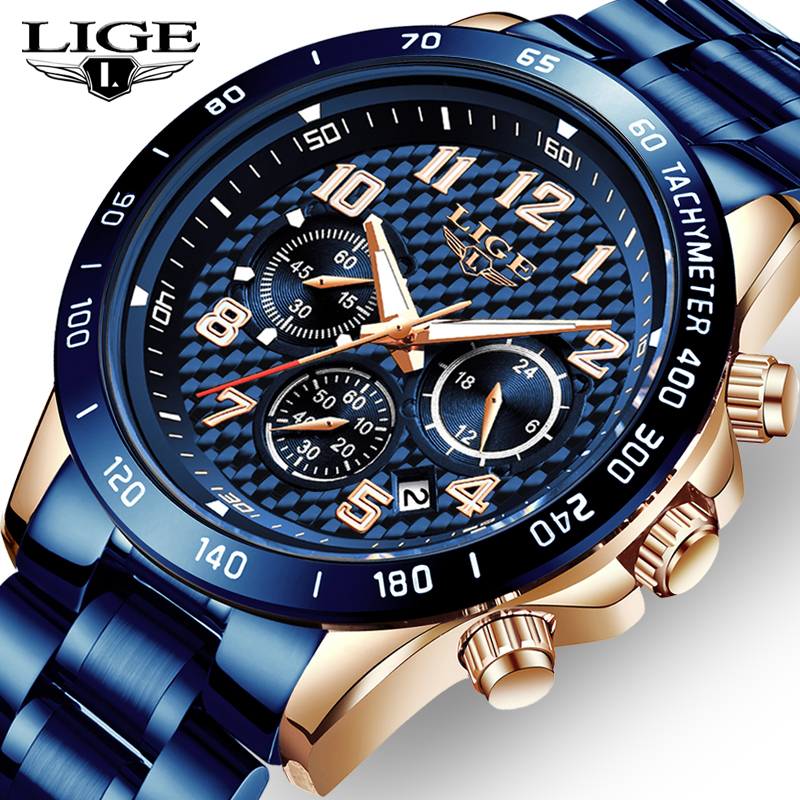 LIGE 2020 New Arrival Men Watches Top Luxury Brand Sport Watch Men Chronograph Quartz Wristwatch Date Male Relogio Masculino+Box(China)
