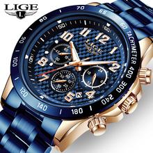 LIGE 2020 New Arrival mężczyźni zegarki Top luksusowa marka zegarek sportowy mężczyźni Chronograph zegarek kwarcowy data mężczyzna Relogio Masculino + Box tanie tanio 22cm Moda casual QUARTZ 3Bar Klamerka z zapięciem CN (pochodzenie) STAINLESS STEEL 13mm Hardlex Kwarcowe zegarki Papier