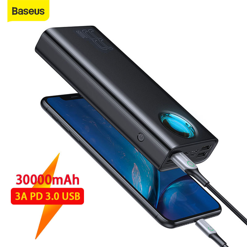 Baseus Power Bank 30000mAh Quick Charge 3 0 QC Powerbank PD USB Fast Charging Portable Exterbal Battery Power For iP For Huawei