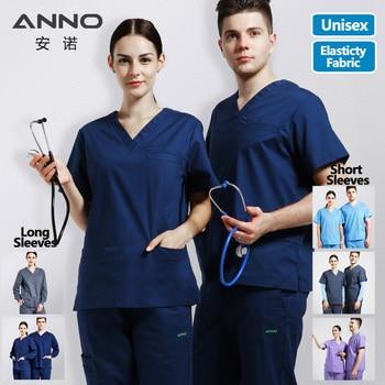 ANNO Elasticity Cotton Spandex Body Nurse Uniform For Women Men Scrubs Suit Dental Hospital Set Work Wear Nursing Clothing