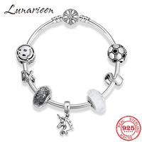 100% 925 Sterling Silver Charm Bracelets for Women Round Football pattern unicorn Pendatn Bracelet Bangle Silver 925 DIY Jewelry