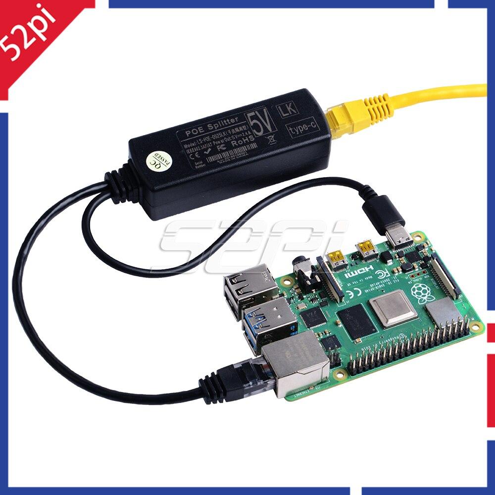 52Pi Gigabit Raspberry Pi PoE Splitter Gigabit USB Type C Power Over Ethernet IEEE 802.3af PoE Switch Extension